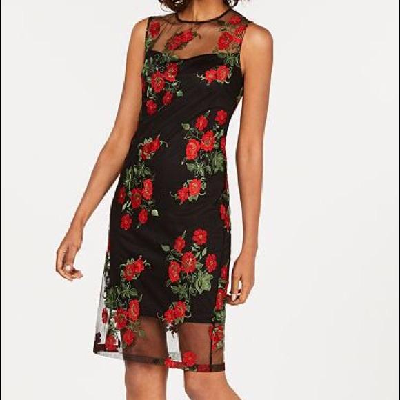 8af5fcb3 Calvin Klein Dresses   Flash Sale Embroidered Illusion Dress   Poshmark